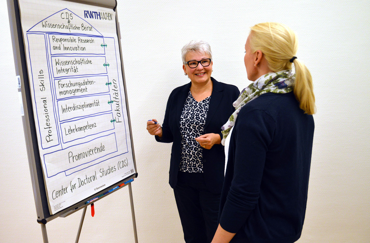 Two women standing in front of a flip chart